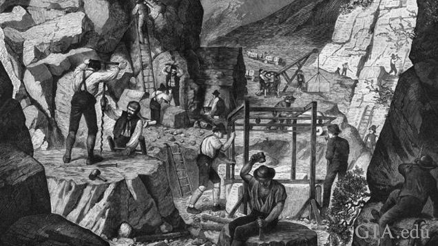 Black and white illustration showing workers in a Carrara marble quarry