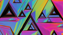 Abstract art with a fluorescent rainbow and dark brown triangle patterns