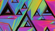 荧光虹彩和深褐色三角形图案抽象艺术