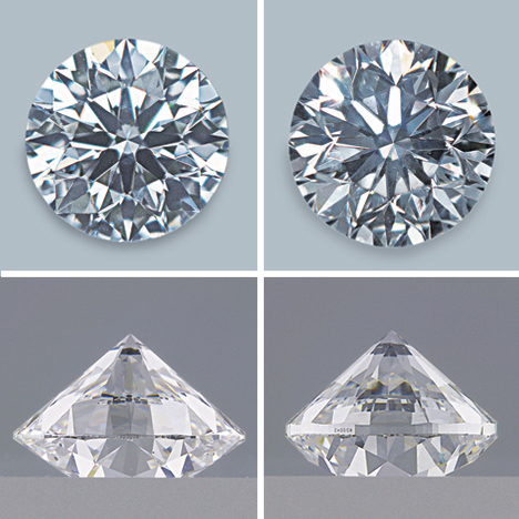 The diamond on the left weighs 0.61 ct, while the diamond on the right weighs 0.71 ct.