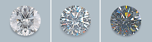 A diamond with different lighting and viewing environments