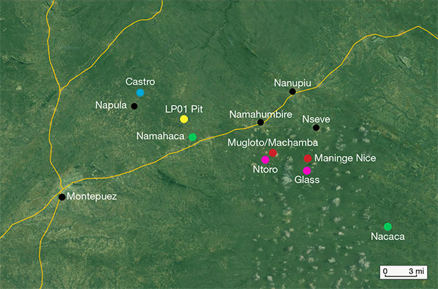 The main ruby mining areas of northern Mozambique.
