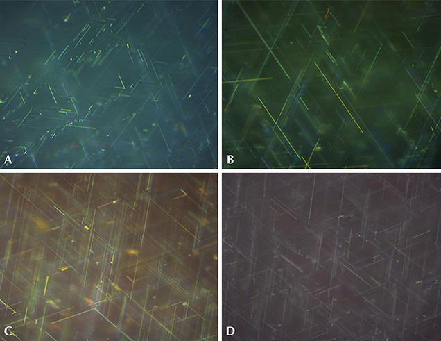 Rutile needles in Wiede's synthetic star corundum