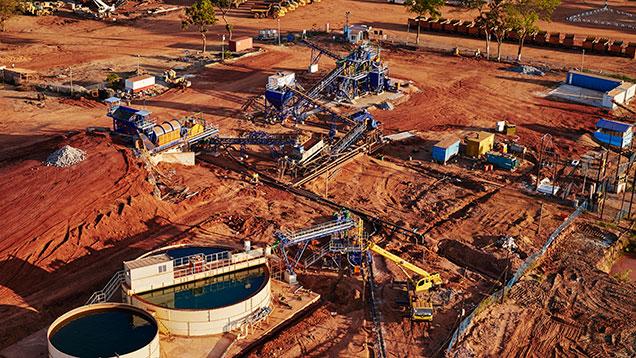 Aerial view of MRM ruby washing plant.