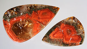 Cabochons of strongly zoned Brazilian quartz.