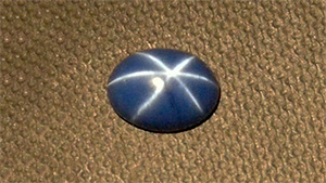 A blue synthetic star sapphire from past production of Wiede's Carbidwerk
