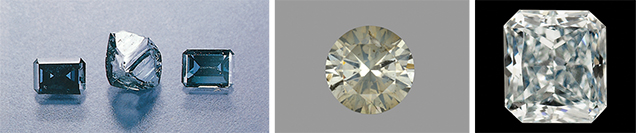 A variety of natural diamonds coated with CVD film.
