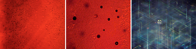 Gas bubbles in Wiede's synthetic star corundum