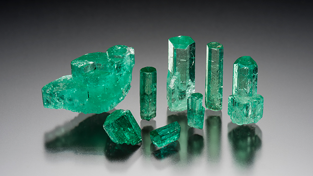 Sampling of rough emerald obtained for GIA reference collection