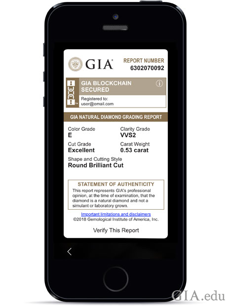 An image of a GIA diamond report.
