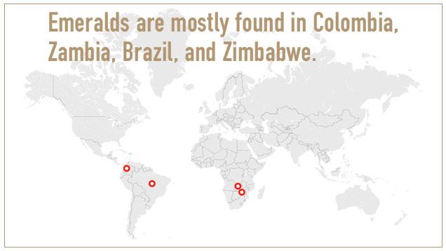 祖母绿多分布在哥伦比亚、赞比亚、巴西和津巴布韦。