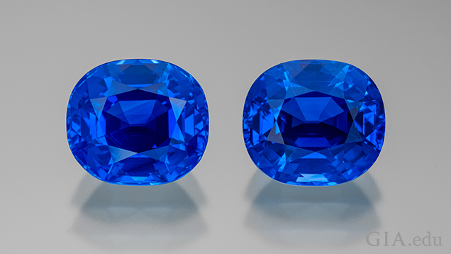 Two blue sapphires side-by-side