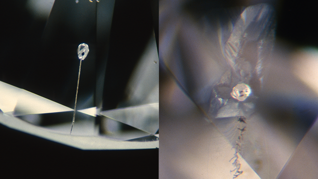 Laser drilling allows access to internal inclusions which can then be altered to lighten dark inclusions and improve the apparent clarity of the gem. Laser drilled holes may be detected able under 10x magnification, but higher magnification may also be necessary. Two examples are shown. Left Photo: Vincent Cracco/GIA. Right Photo: Shane McClure/GIA.