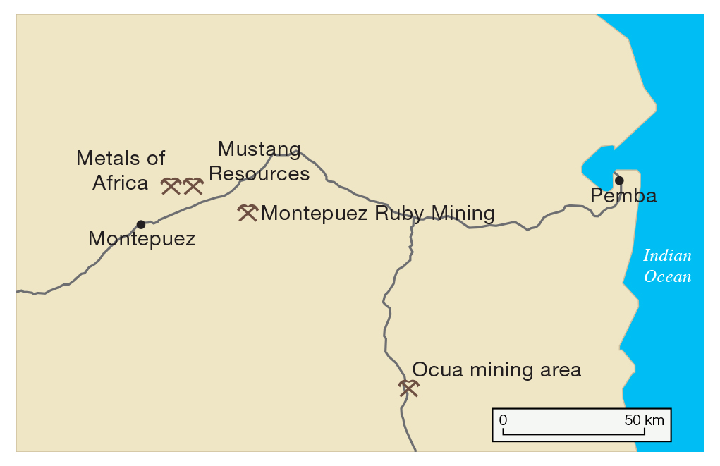 Map of northern Mozambique mining operations.