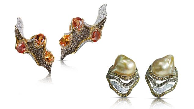 "Kenny Yongkiettakul(肯尼•永基塔库尔)""前卫而有机""的风格灵感来自于大自然和海洋,这一点从 Kavant and Sharart 的众多珠宝中都可以看出来,比如橙色蓝宝石和钻石耳环以及镶有巴洛克南海珍珠的黄色蓝宝石和钻石耳环。 由 Kavant and Sharart 友情提供"