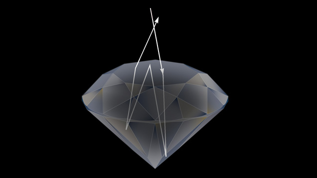 3D model of a round brilliant diamond with a computer-generated light ray path
