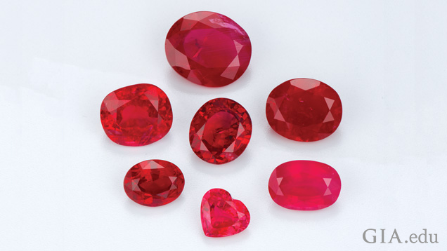 A group of seven various-shaped rubies
