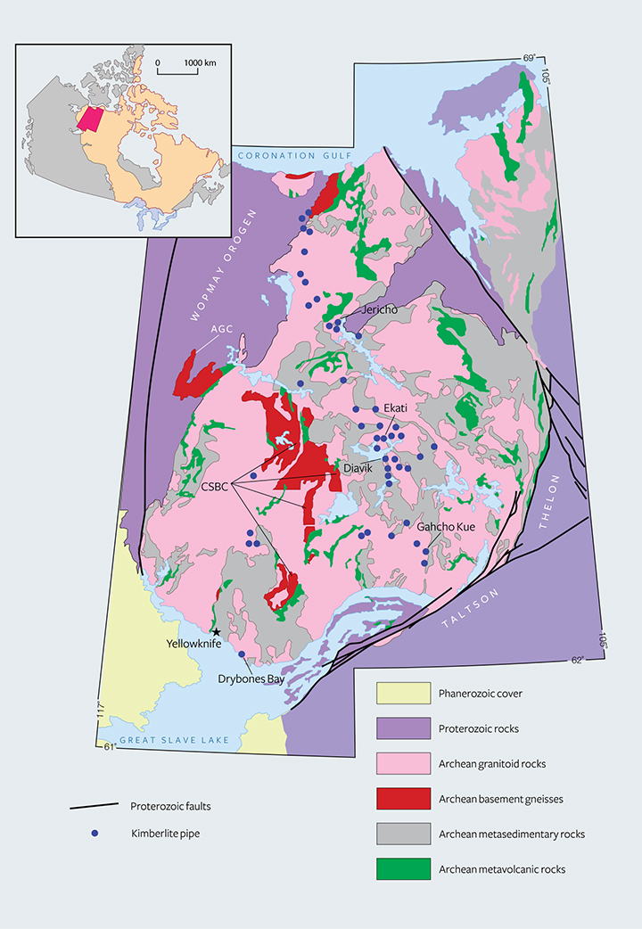 Geological map of northern Canada's diamond mines