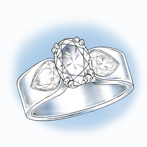 Perspective view of an oval solitaire with large, pear-shaped diamonds set in the wide shank
