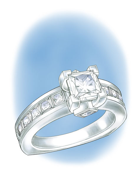 Perspective view illustration of a platinum princess-cut solitaire ring