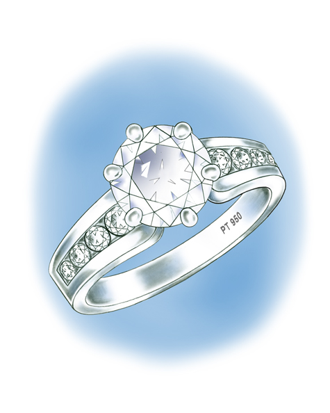Illustration of platinum solitaire, featuring a round brilliant center stone set with six prongs and round brilliant channel-set stones down each side of the shank