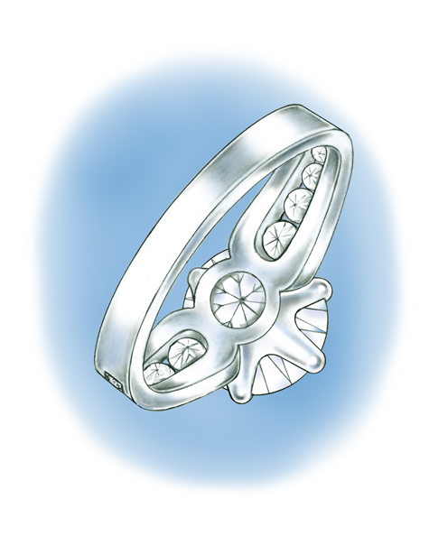 Illustration of underside of platinum solitaire, featuring a round brilliant center stone set with six prongs and round brilliant channel-set stones down each side of the shank