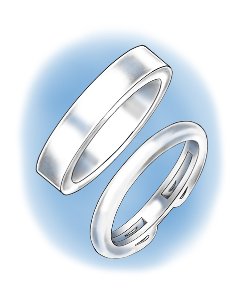 Illustration depicting one wide band and one tapered band