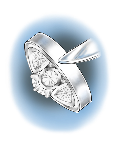 Illustration depicting a platinum solitaire being lightly buffed