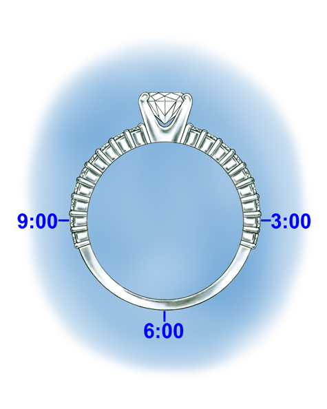 Illustration of a platinum solitaire with diamonds set in the shank