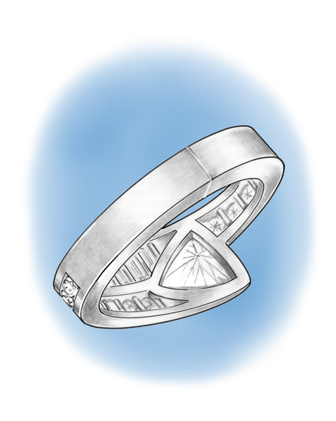 Illustration of a platinum ring showing a cold solder joint in the middle of the band