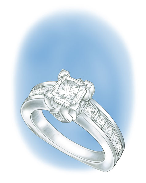Perspective view illustration of a platinum princess-cut solitaire