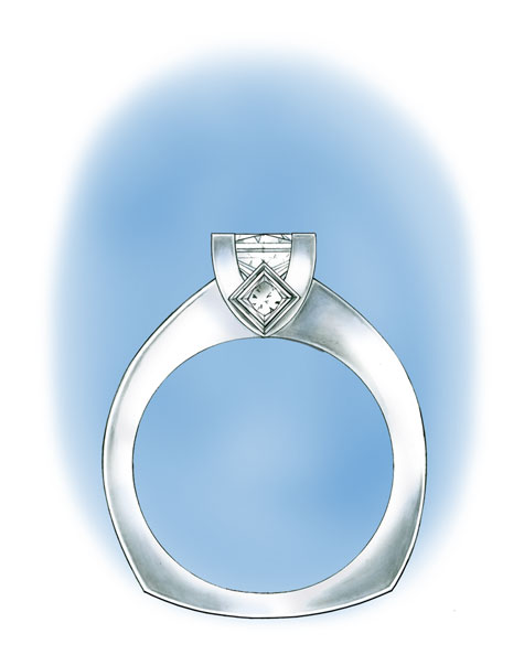 Side view illustration of platinum princess-cut solitaire with a bezel-set diamond in the gallery
