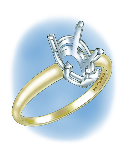 Four-prong, pear-shaped platinum cobalt setting with 14K yellow gold shank