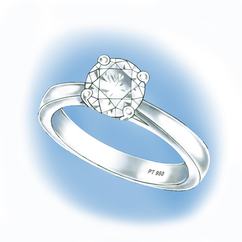 Perspective view illustration of platinum solitaire ring