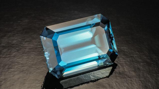 Emerald-cut Blue Zircon