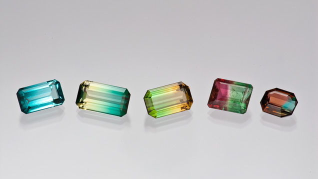 Colour-zoned tourmaline