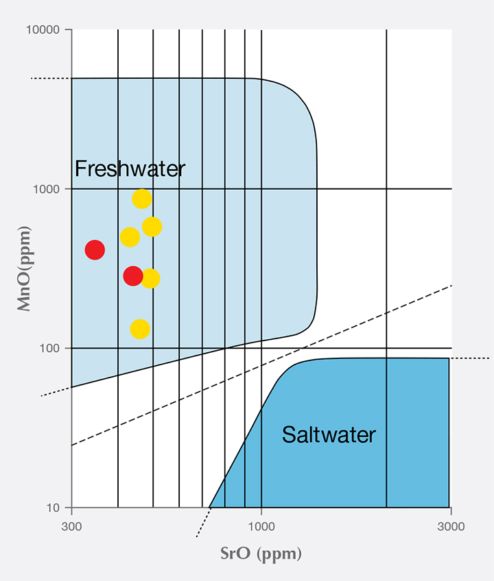 Plot of theoretical distribution of MnO vs. SrO in freshwater and saltwater pearls.