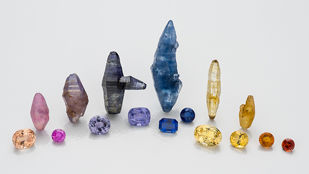 Sapphires from a variety of sources.