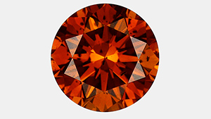 Irradiated 1.06 ct brownish orange HPHT synthetic diamond