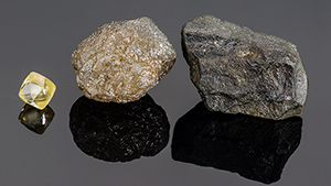 Diamond octahedron, diamond bort, and carbonado