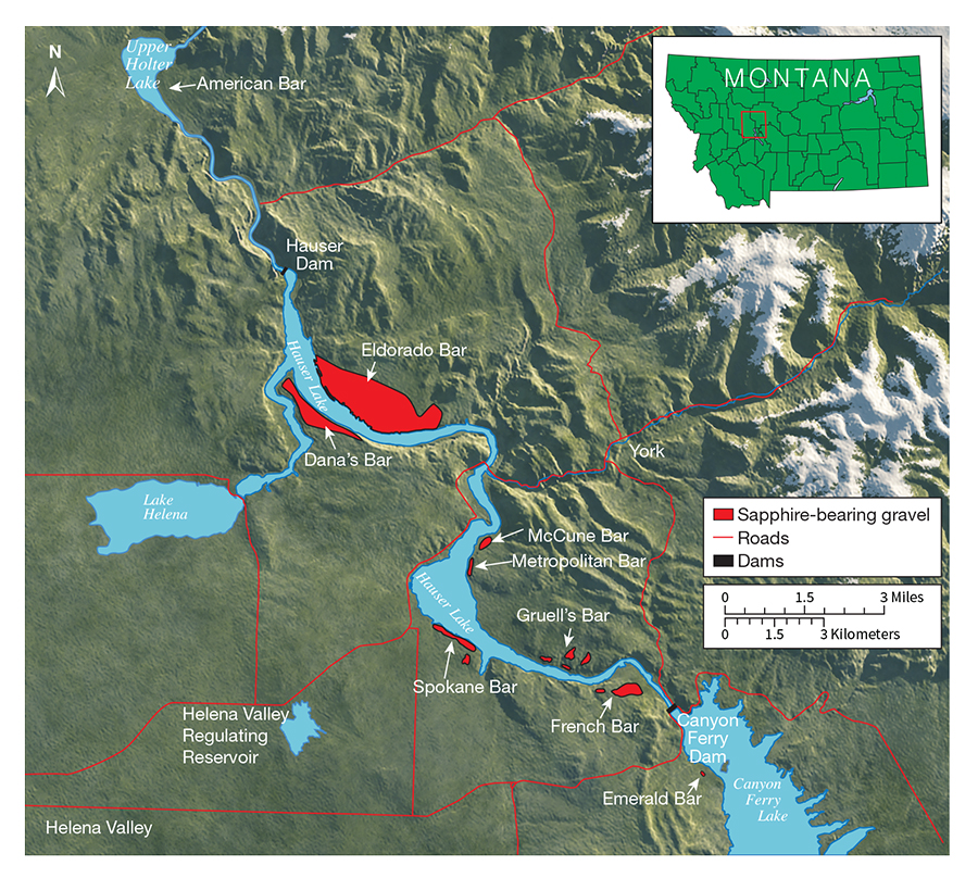 Map of nine historic sapphire mining areas on the Missouri River
