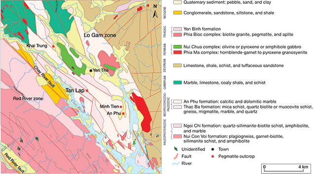 Geological map of tourmaline-bearing pegmatites in Luc Yen district