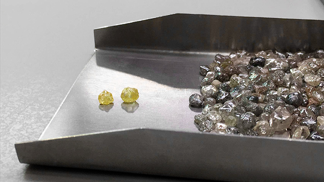 Yellow cuboctahedral diamonds from Lomonosov.