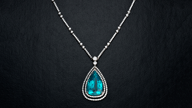 Paraíba tourmaline and diamond pendant necklace.