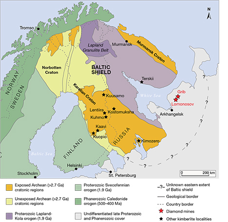 Geological map of the Baltic shield in Scandinavia and northwestern Russia.