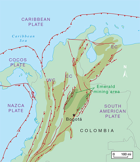 Map of Colombia's tectonic domains and structural features