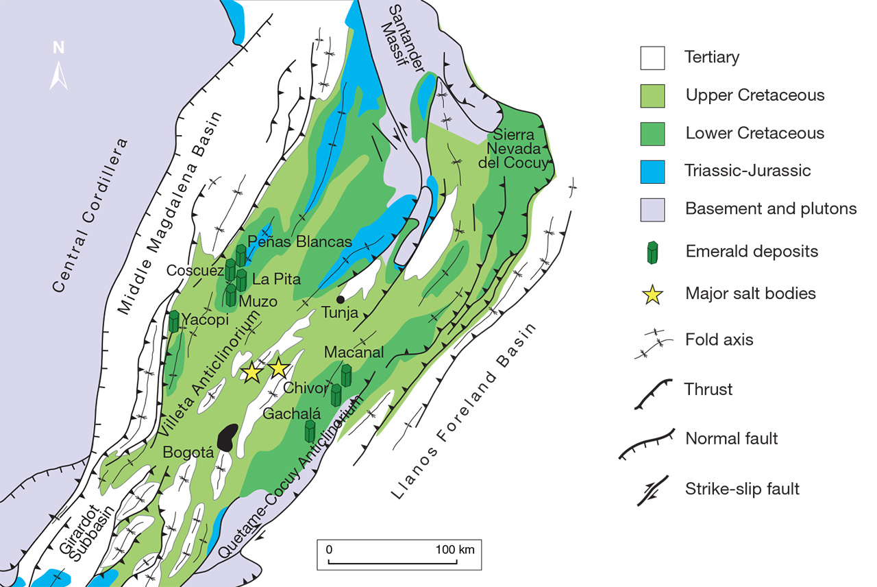 Simplified geological map of Colombia's Eastern Cordillera
