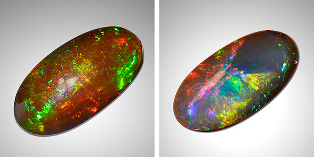 Front and back views of brown dyed precious opal.