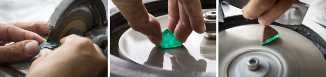 Sawing and cutting of a 700 ct piece of rough emerald