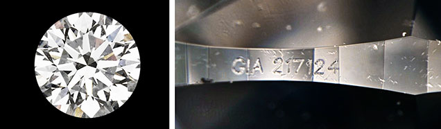 Synthetic diamond with fake GIA inscription.